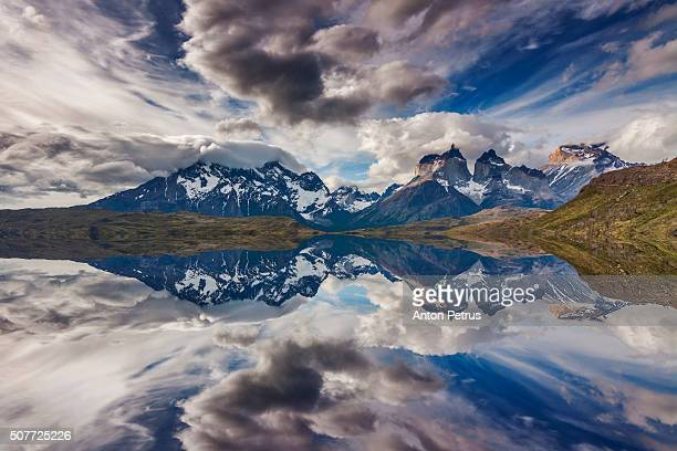 Reflection in Lake Pehoe, Torres del Paine, Chile