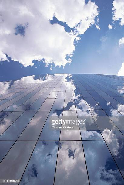 reflection in skyscraper windows - trapezoid stock pictures, royalty-free photos & images