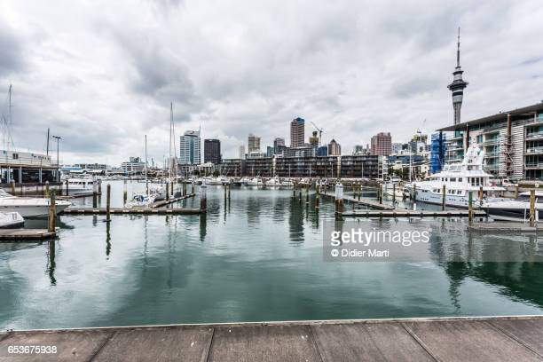 Reflection in Viaduct harbour in New Zealand waterfront, New Zealand