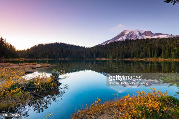 reflection lake, mount rainier national park, washington state, united states of america, north america - reflection lake stock pictures, royalty-free photos & images