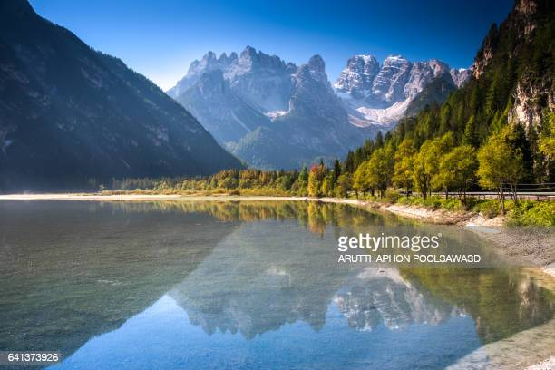 reflection lake with mountain in european alps , lago di landro , landro lake , dolomites , italy - toblach stock photos and pictures