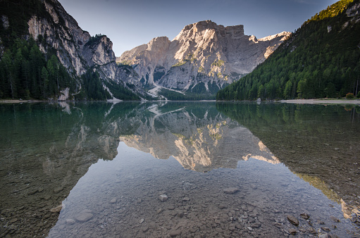 Reflection mirror lake , lake braies south tyrol dolomites north Italy in alps - gettyimageskorea