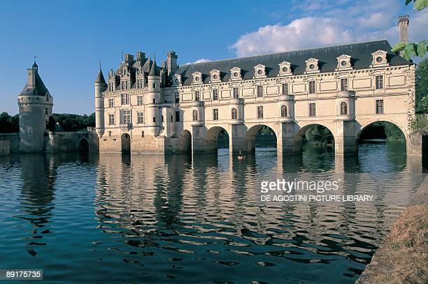 Reflection of a castle in a river Chateau De Chenonceaux Chenonceaux Centre France