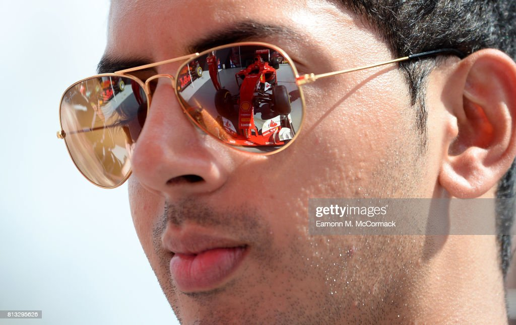 A reflection of a Ferrari racing car in a pair of sunglasses at the F1 Live in London event at Trafalgar Square on July 12, 2017 in London, England. F1 Live London, the first time in Formula 1 history that all 10 teams come together outside of a race weekend to put on a show for the public in the heart of London.