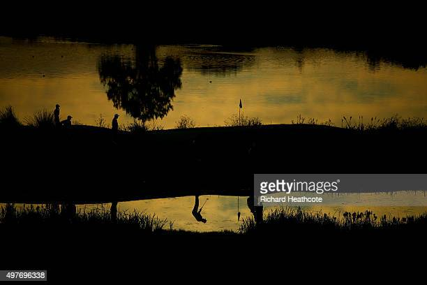 A reflection of a golfer as he plays a shot during the fifth round of the European Tour Qualifying School Final at PGA Catalunya Resort on November...