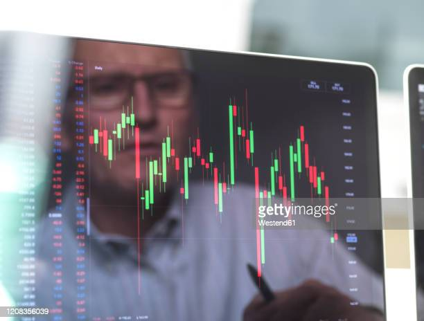 reflection of a stock trader viewing the performance of a company share price on screen - stock trader stock pictures, royalty-free photos & images