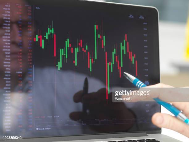 reflection of a stock trader viewing the performance of a company share price on screen - business finance and industry stock pictures, royalty-free photos & images