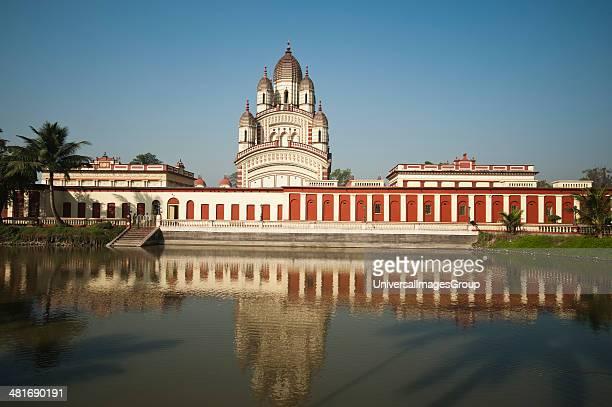 Reflection of a temple on water Dakshineswar Kali Temple Kolkata West Bengal India
