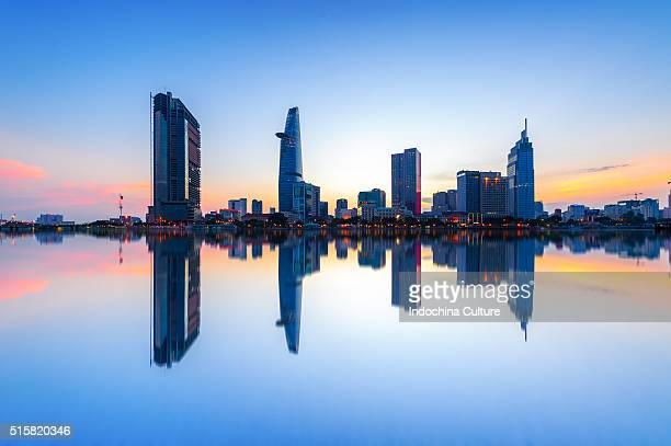 Reflection of Administrative and Bussiness District of Ho Chi Minh city, Vietnam. Ho Chi Minh city is the biggest city in Vietnam.