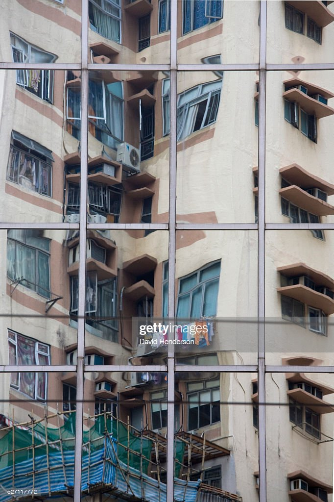 Reflection of an apartment block : Stock Photo