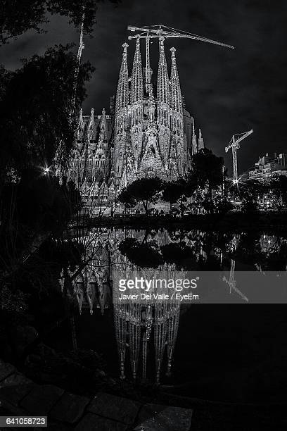 Reflection Of Barcelona Cathedral In River At Night