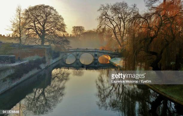 reflection of bare trees in river against sky - cambridge cambridgeshire imagens e fotografias de stock
