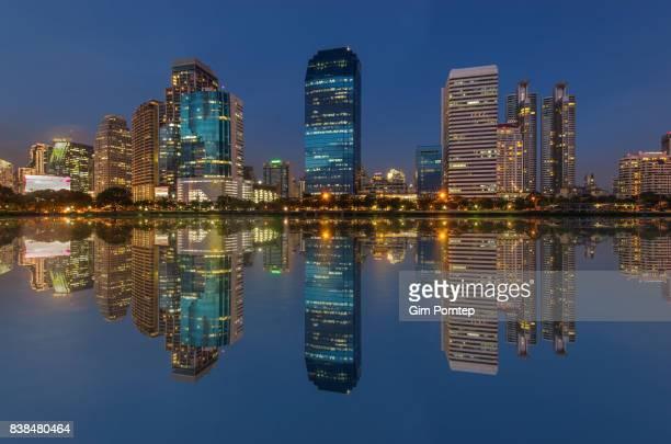 Reflection of Benjakitti park , bangkok , thailand