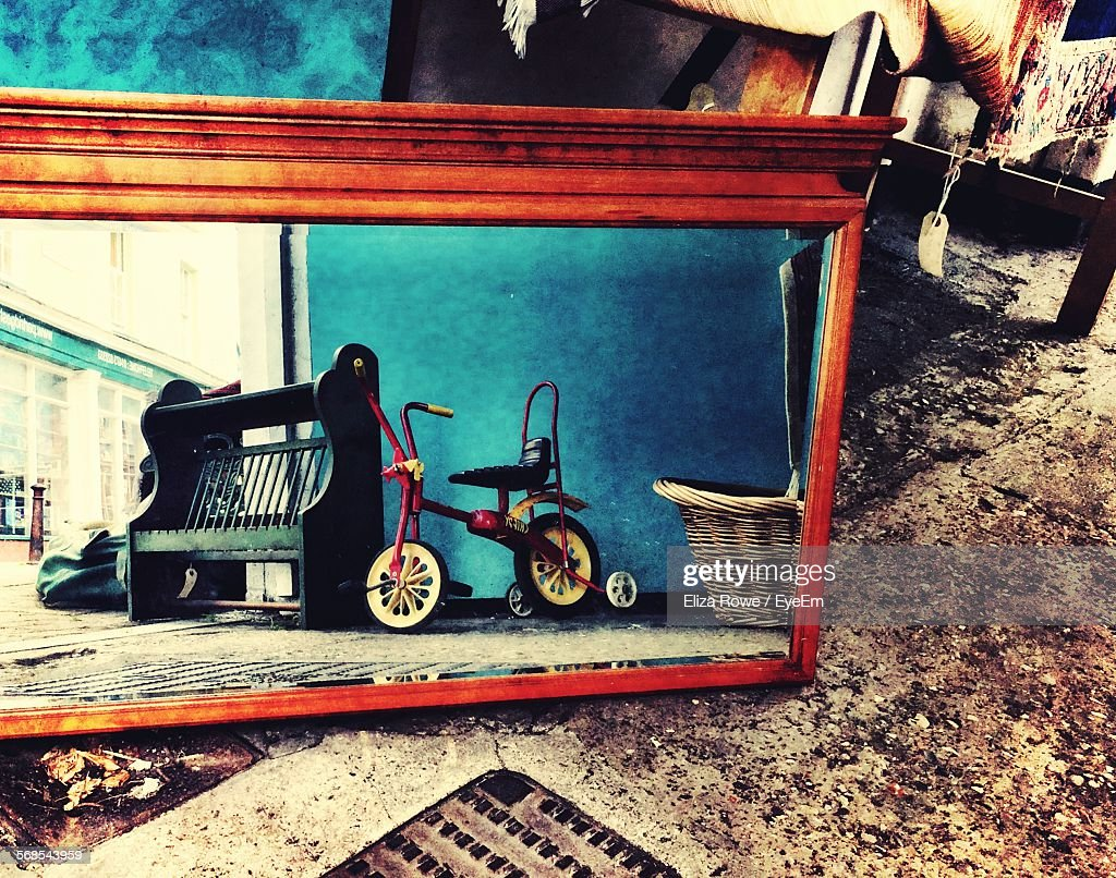 Reflection Of Bicycle On Mirror : Stock Photo