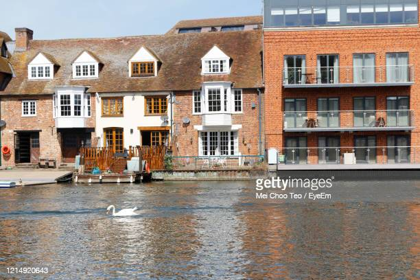 reflection of buildings in canal - windsor england stock pictures, royalty-free photos & images