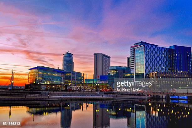 Reflection Of Buildings On River At Salford Quays