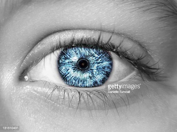 reflection of camera lens in eye - isolated color stock pictures, royalty-free photos & images