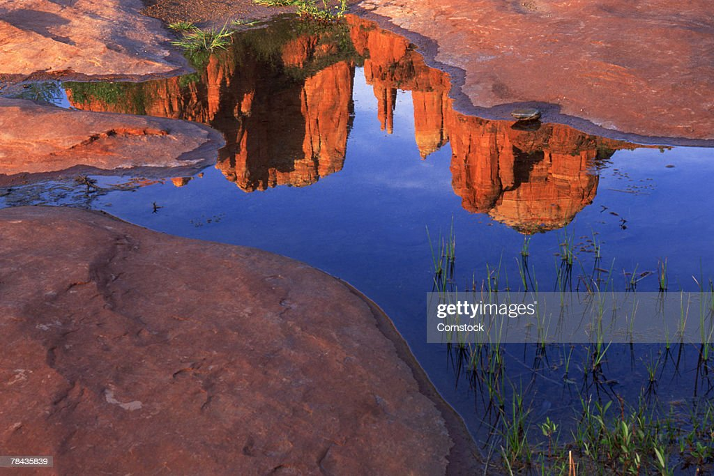 Reflection of Cathedral Rock at Red Rock Crossing in puddle , Sedona , Arizona : Stockfoto