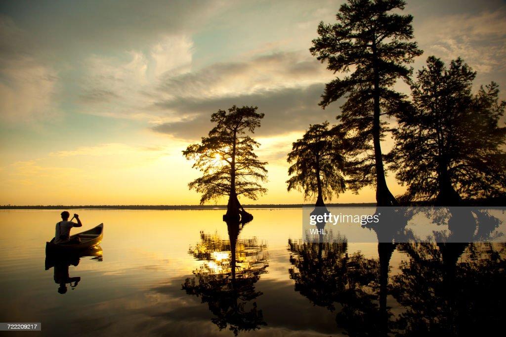 Reflection of Caucasian boy in canoe near trees in river : Stock Photo