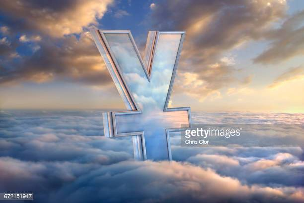 Reflection of clouds in yuan symbol in sky