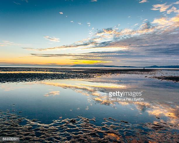 Reflection Of Cloudy Sky In Water On Beach