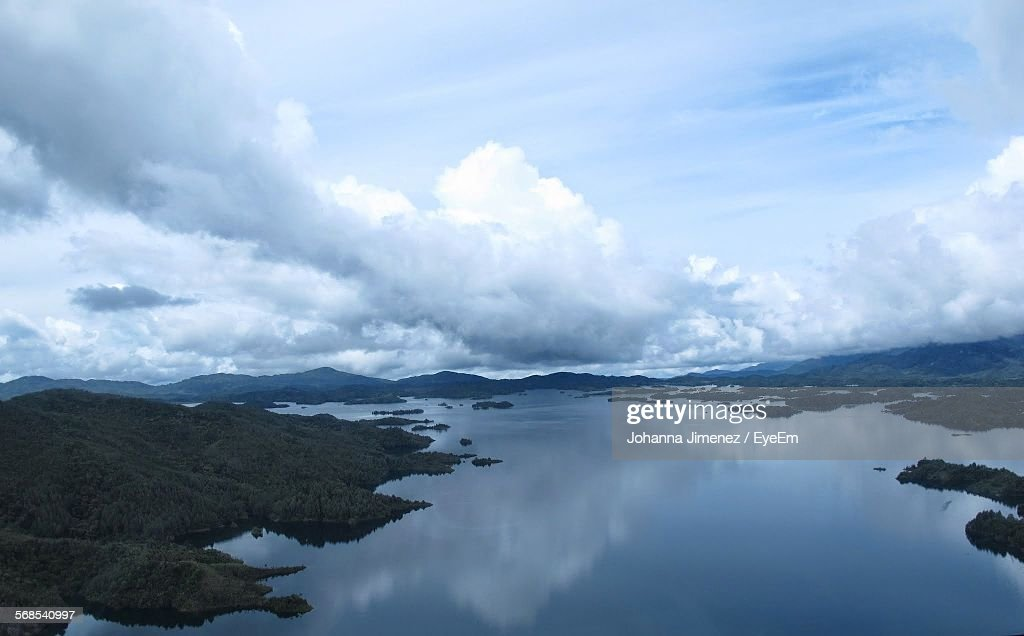 Reflection Of Cloudy Sky On River : Stock Photo