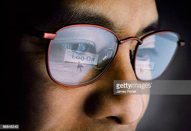 Reflection of computer screen in glasses