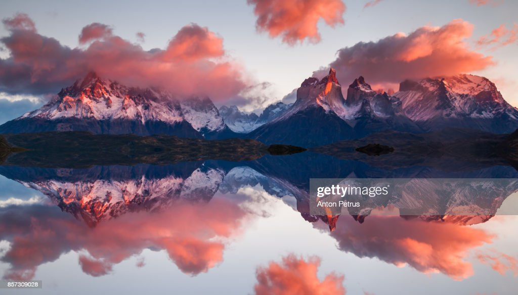Reflection of dawn in Torres del Paine, Chile : Stock Photo
