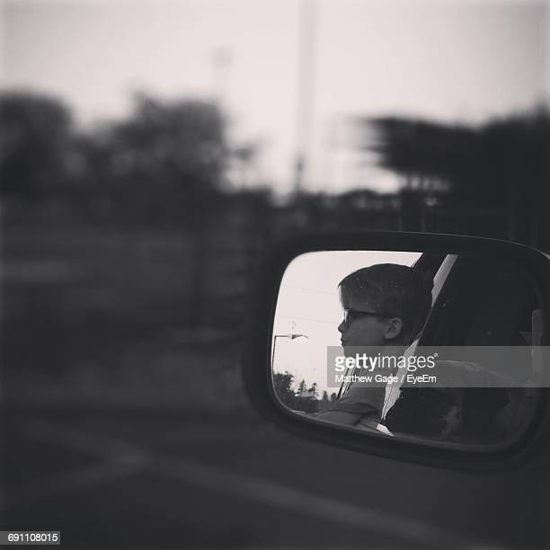 Reflection Of Dog And Boy On Side-View Mirror Of Car