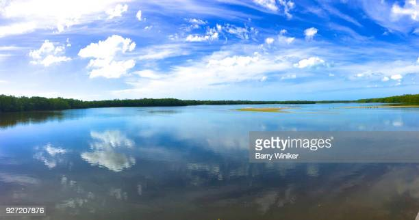 Reflection of dramatic clouds in Pine Island Sound at Sanibel Island