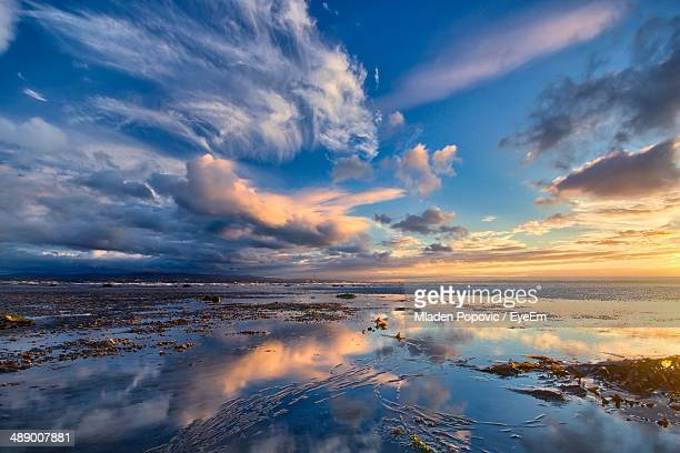 Reflection of dramatic sky at beach
