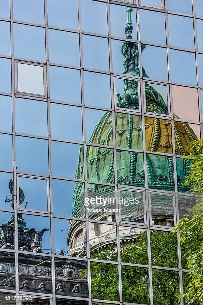 Reflection of El Congreso in Monserrat neighborhood. Argentina's Congress Building - Buenos Aires