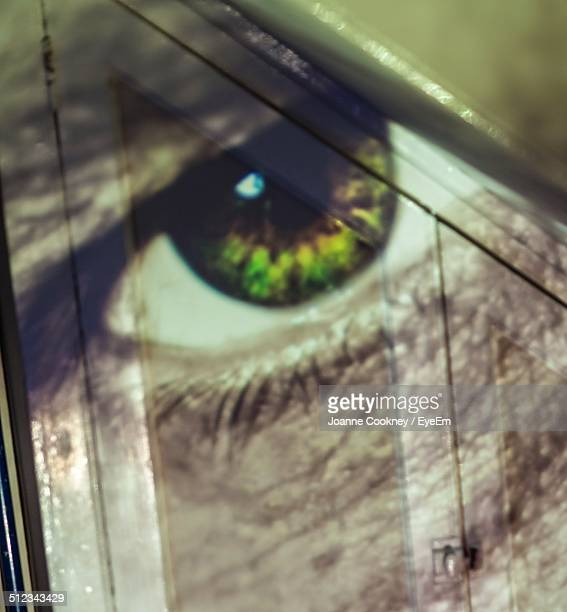 Reflection of eyes on glass
