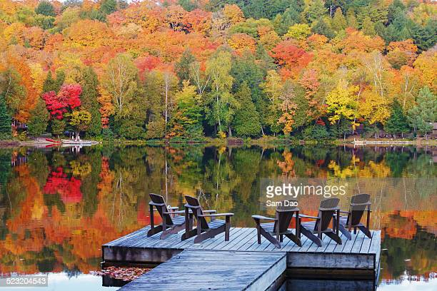 Reflection of fall foliage on calm lake