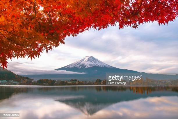 Reflection of fuji in autumn