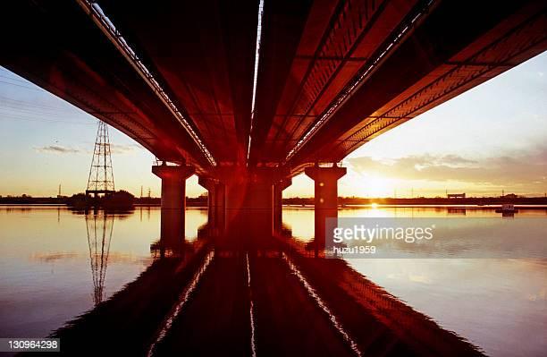 reflection of golden sunset - 埼玉県 ストックフォトと画像
