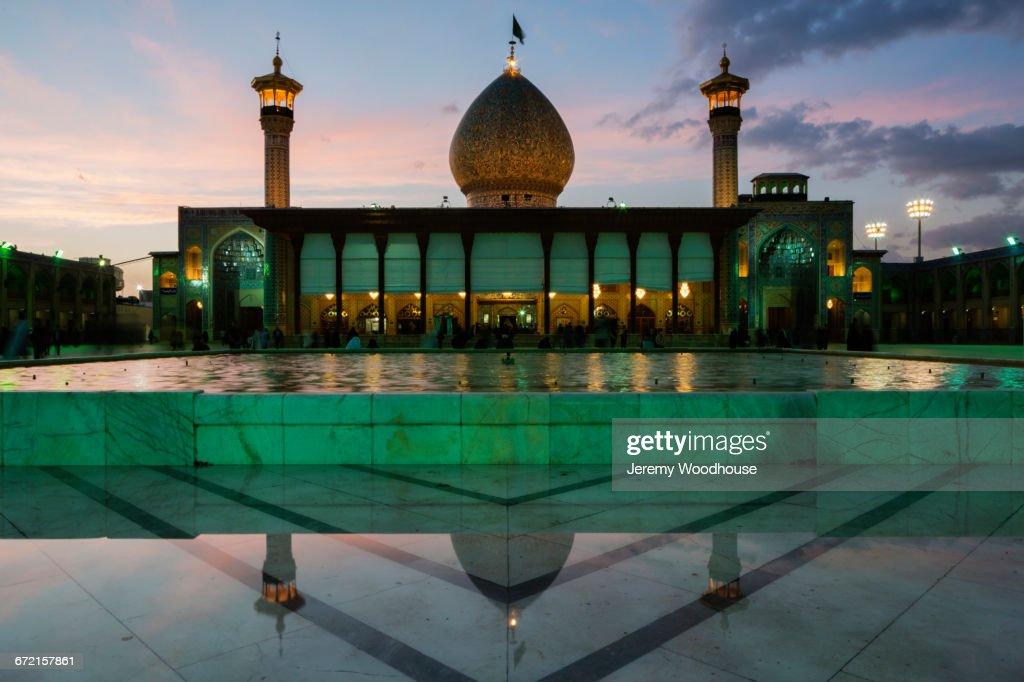 Reflection of Holy Shrine of Shah-e-Cheragh at dusk, Shiraz, Iran,  : Stock Photo