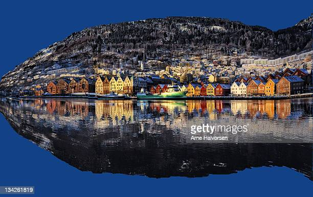 Reflection of houses in river