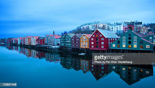 Reflection of houses in water