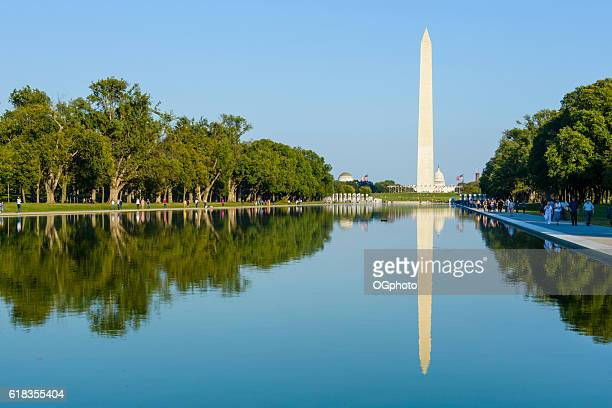 reflection of in pool of washington monument, washington, dc - nationell sevärdhet bildbanksfoton och bilder