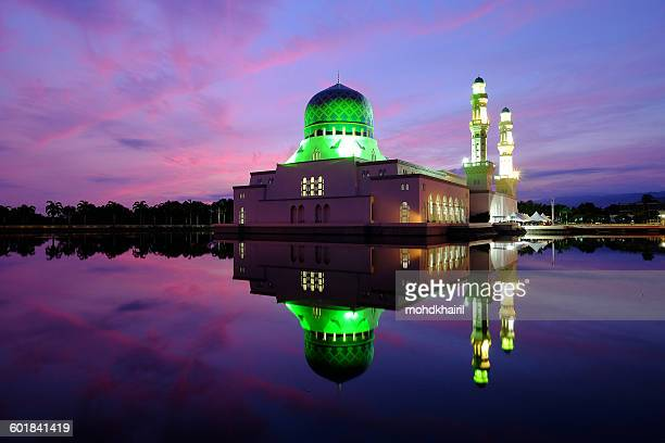Reflection of Kota Kinabalu City Mosque at Sunrise, Sabah, Borneo, Malaysia