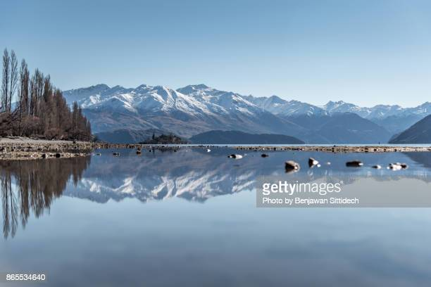 Reflection of Lake Wanaka in winter, South island, New Zealand