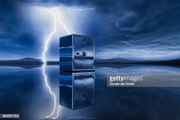 Reflection of lightning near safe