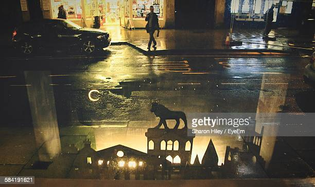 reflection of lion sculpture on puddle during night at huddersfield - bradford england stock pictures, royalty-free photos & images