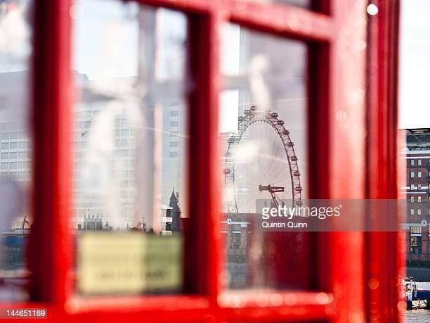 Reflection of London eye in phone box