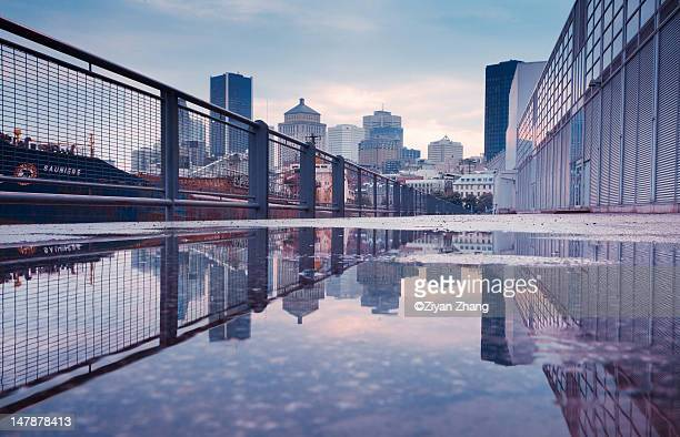 reflection of montreal, qc - montréal stock pictures, royalty-free photos & images