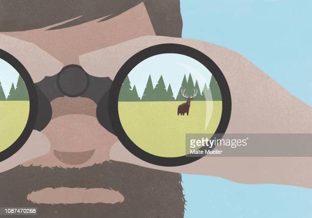 reflection of moose in field in binoculars held by a man with a beard - wildnis stock-fotos und bilder