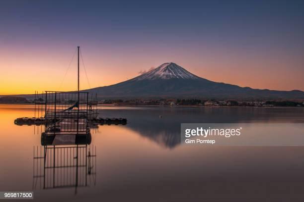 Reflection of mount fuji at morning time