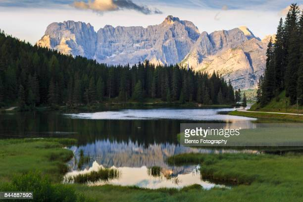Reflection of mountain in Dolomite, Italy