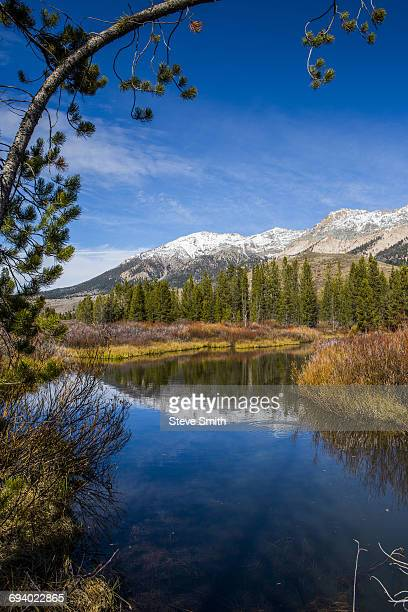 Reflection of mountain in river